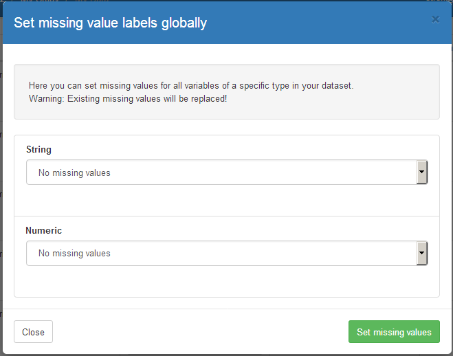 how to set missing values globally