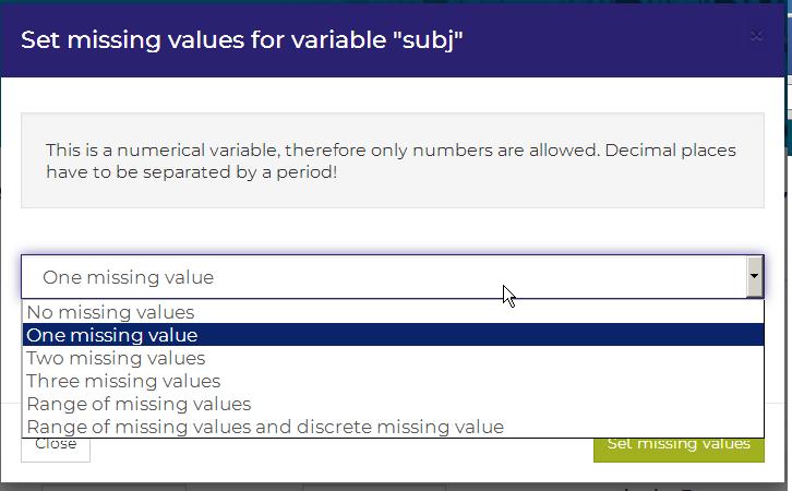set missing values